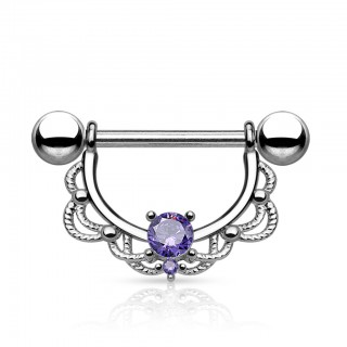 Nipple piercing with crystalised gem within silver shield