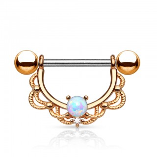 Nipple bars with opal stone in circular shield
