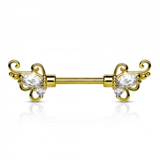 Nipple bar with floral filigrane tips