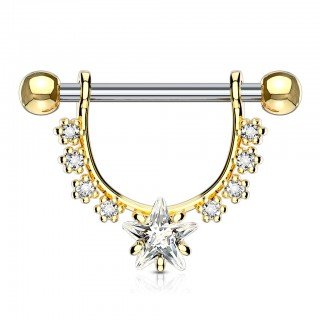 Nipple bar with dangling white jeweled star