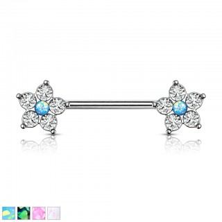 Nipple bar with glittering opal stone centre in flower