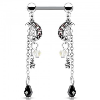 Antique silver nipple bar with dangling moon and beads with gem