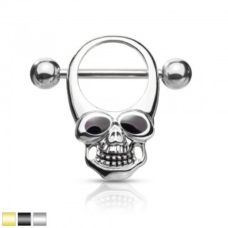 Coloured skull with enamel eyes as nipple shield