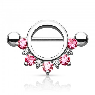 Crowned nipple piercing with surrounding ring and crystal gems