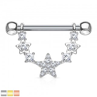 Nipple ring with clear crystals on linked stars