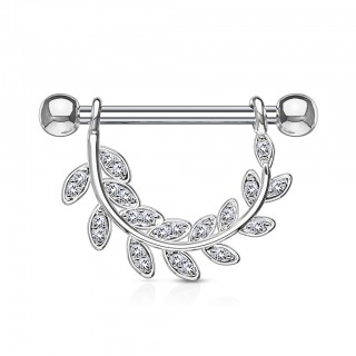 Nipple bar with crystalised dangling leaves