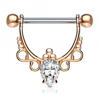Nipple bar with infinity symbol and clear jewels