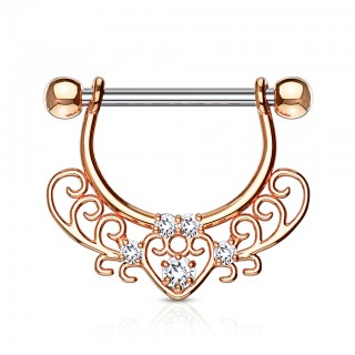 Trible filigree nipple bar with hollow points