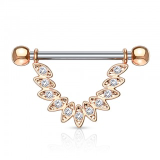 Nipple piercing with oval cut jewels ring dangle - Rose Gold