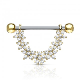 Dangling crystalised floral nipple bar