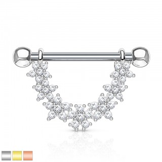 Nipple piercing with dangle of clear crystal flowers