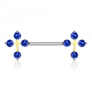 Nipple bar with cross of coloured crystals ends