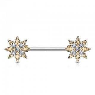 Nipple barbell with coloured stars ends with crystals