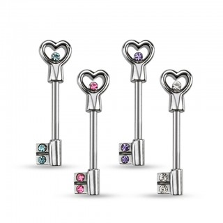 Nipple bar with key to heart