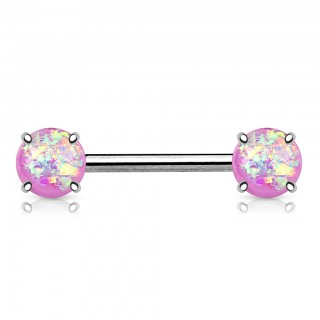 Prong set nipple bar with Opal gem
