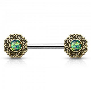 Vintage nipple bars with filigree and glimmering opal stones