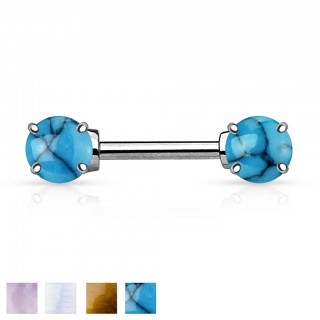 Nipple bar with two precious stones