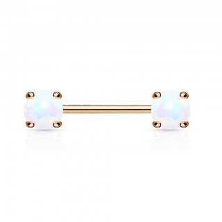 Encased opal front facing rose gold nipple bar piercing