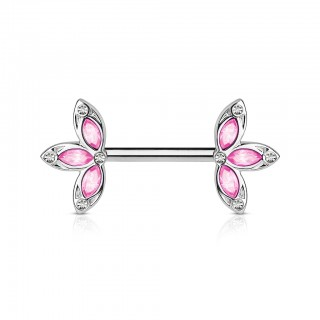 Flower ended nipple bar with jewels