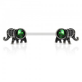 Opal gem adorned vintage elephant nipple bars
