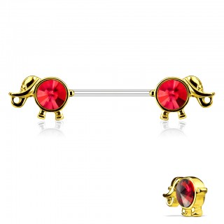 Nipple bar with gem adorned elephant figures
