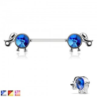 Nipple piercing with elephants and round coloured gems