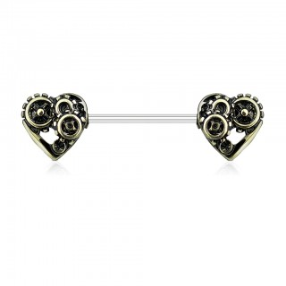 Vintage nipple bar with metal gear filled heart