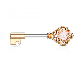 Key-shaped nipple bar with love heart stone