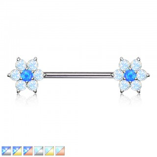 Nipple barbell with coloured crystal flower and opalite