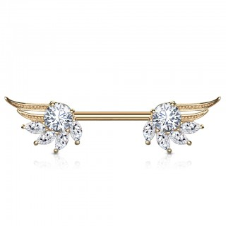 Front facing barbell with angel wings and coloured jewel