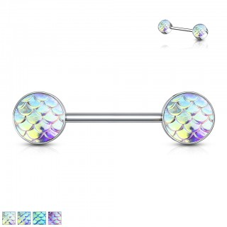Nipple bar with coloured fish scale balls