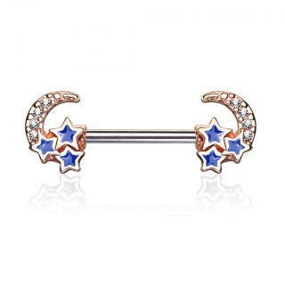 Nipple bar with coloured crescent moon and blue stars