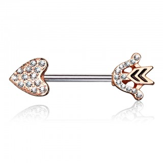 Nipple bar with coloured heart arrow and clear crystals