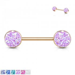 Rose gold nipple piercing with coloured drused stone