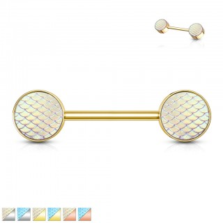 Coloured nipple barbell with coloured fish scale ends