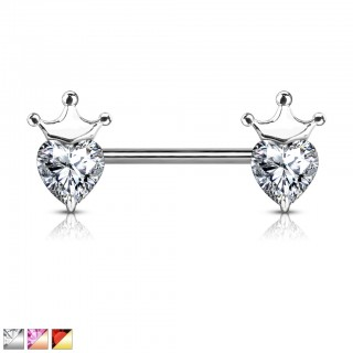 Heart shaped crystal decorated nipple bar with crown