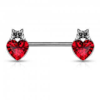 Cat with black crystal eyes and heart gem nipple bar