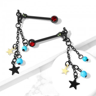 Pair of cat with turquoise beads and star dangle nipple bars