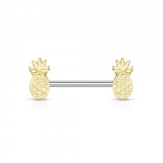 Nipple bar piercing with dual gold pineapple ends