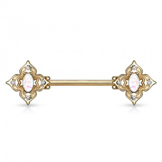 Floral filigree squared nipple bar with opal centre