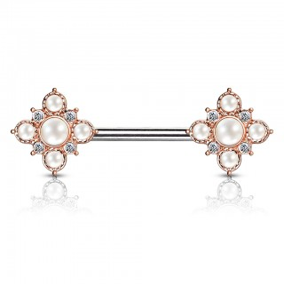 Pearl and crystal paved vintage style nipple bar piercing
