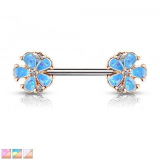 Opal glitter filled five petal nipple bar of rose gold