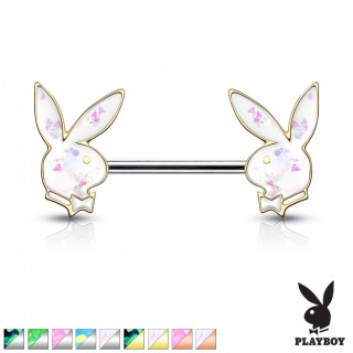 Opal glitter filled playboy bunny nipple bar