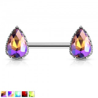 Nipple bar with tear drop rainbow effect crystals