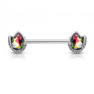 Nipple bar with coloured crystal and mermaid tail