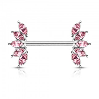 Nipple bar with coloured 5 marquise crystal fan