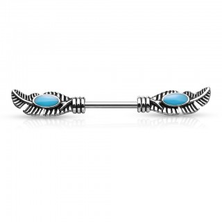 Nipple barbell with tribal feathers and turquoise