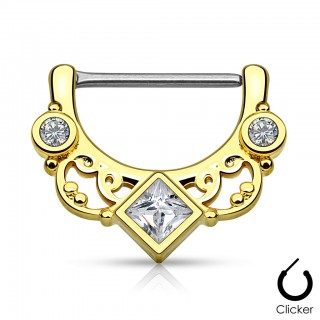 Nipple piercing clicker with cubed crystal and wavy lines