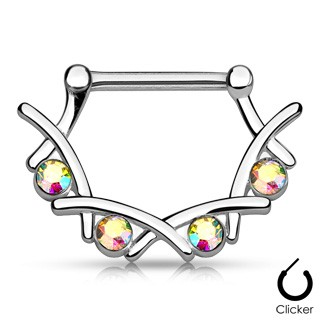 Nipple bar clicker with four coloured stones