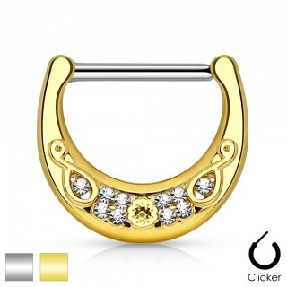 Nipple clicker with filigrane gold shield